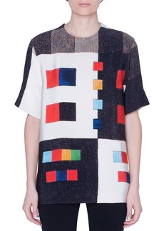 Akris Colorama Silk Short-Sleeve Sweater