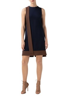 Akris Contrast Sash Stretch Crepe Shift Dress