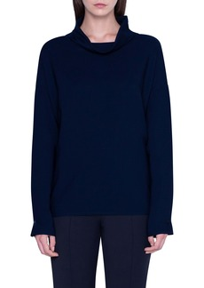 Akris Cowl Neck Oversize Wool Tunic Blouse
