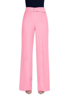 Akris Crepe Belted Wide-Leg Pants with Geometric-Buckle