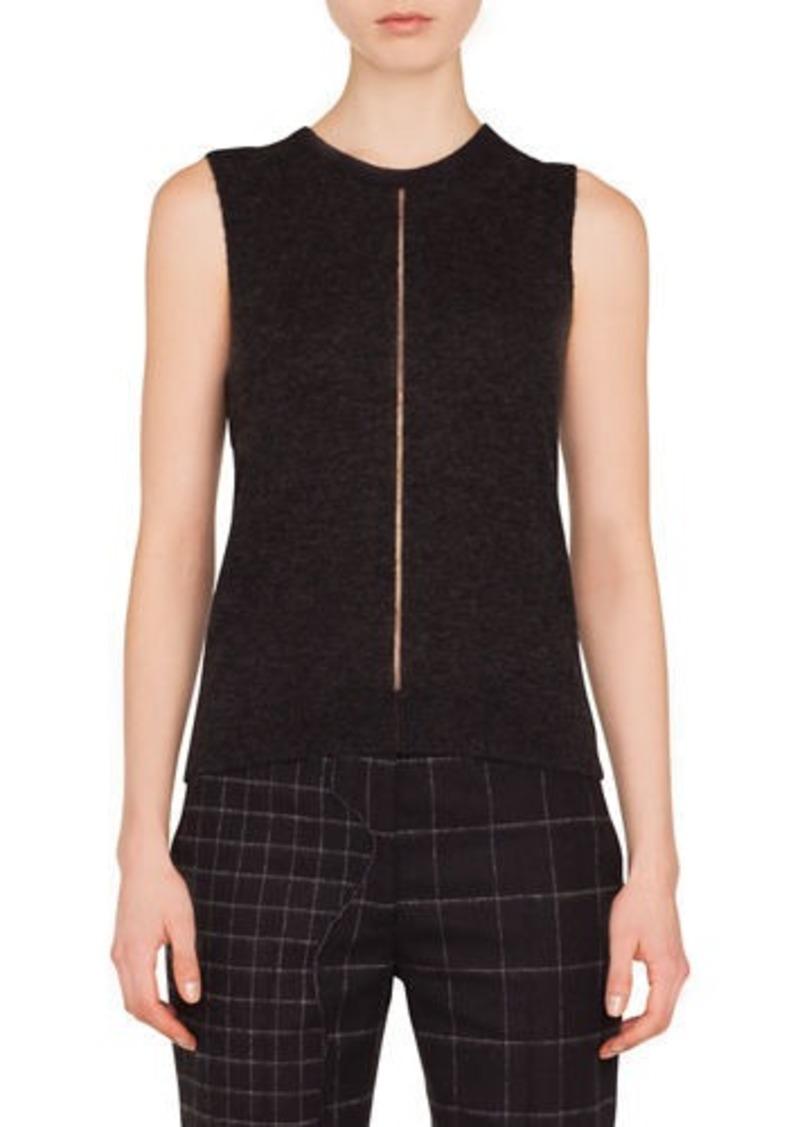 Akris Crewneck Sleeveless Cashmere-Silk Pullover Top