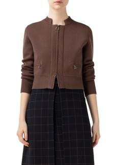 Akris Crop Zip Wool & Silk Cardigan