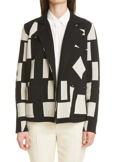 Akris Cubiste Print Leather Trim Cashmere Jacket