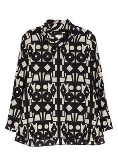 Akris Cubiste Print Wool & Silk Tunic Blouse