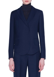 Akris Curve Hem Double Face Wool Jacket