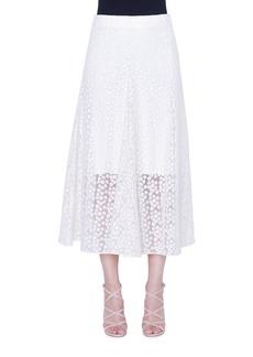 Akris Daisy-Embroidered Organza Skirt