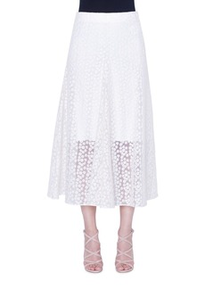 Akris Daisy-Embroidered Organza Skirt
