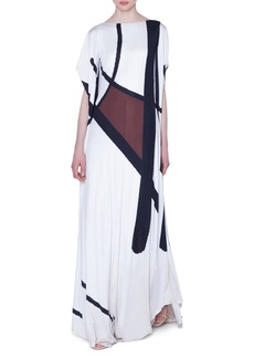 Akris Dancing Twig Print Cape-Sleeve Gown