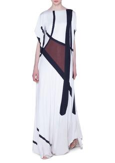 Akris Dancing Twig Print Cape-Sleeve Gown