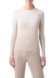 Akris Dégradé Stripe Rib Cashmere & Silk Sweater