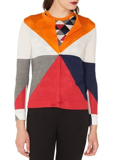 Akris Diamond Jacquard Cashmere & Silk Cardigan