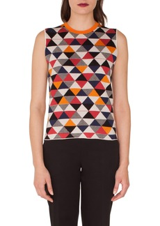 Akris Diamond Jacquard Knit Cashmere & Silk Top