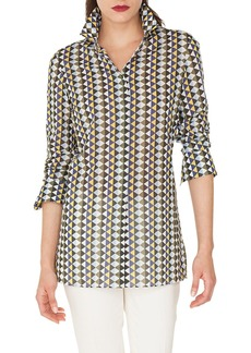Akris Diamond Print Cotton Voile Tunic Blouse
