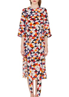 Akris Diamond Print Silk Crepe Dress