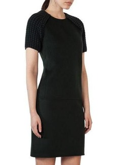 Akris Double-Face Cashmere Dress with Knit Short Sleeves