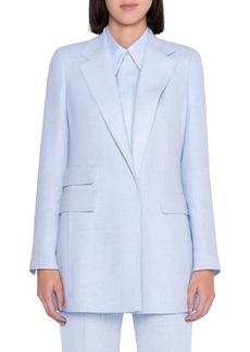 Akris Double Face Linen & Wool Crepe Long Blazer