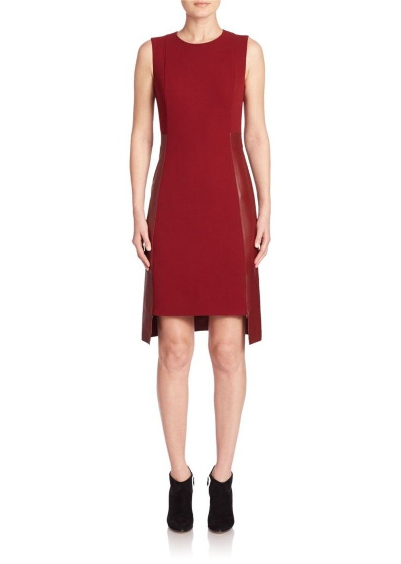 Akris Double Face Wool & Leather Dress