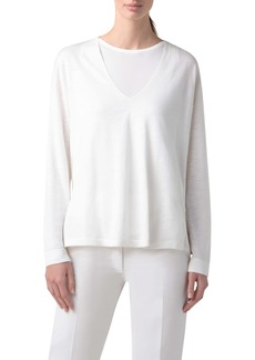 Akris Double Layer Silk & Linen Sweater