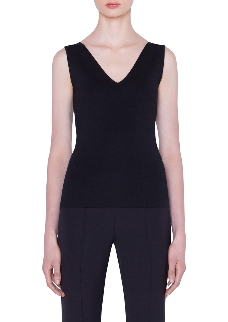 Akris Double V-Neck Stretch Silk Tank