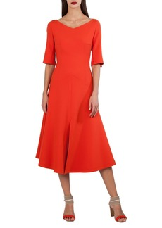 Akris Elbow-Sleeve A-Line Techno Stretch Midi Dress