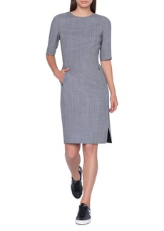 Akris Elbow-Sleeve Wool-Blend Sheath Dress w/ Side Slits