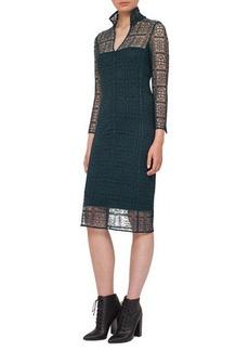 Akris Eve Crocheted Bracelet-Sleeve Shirtdress