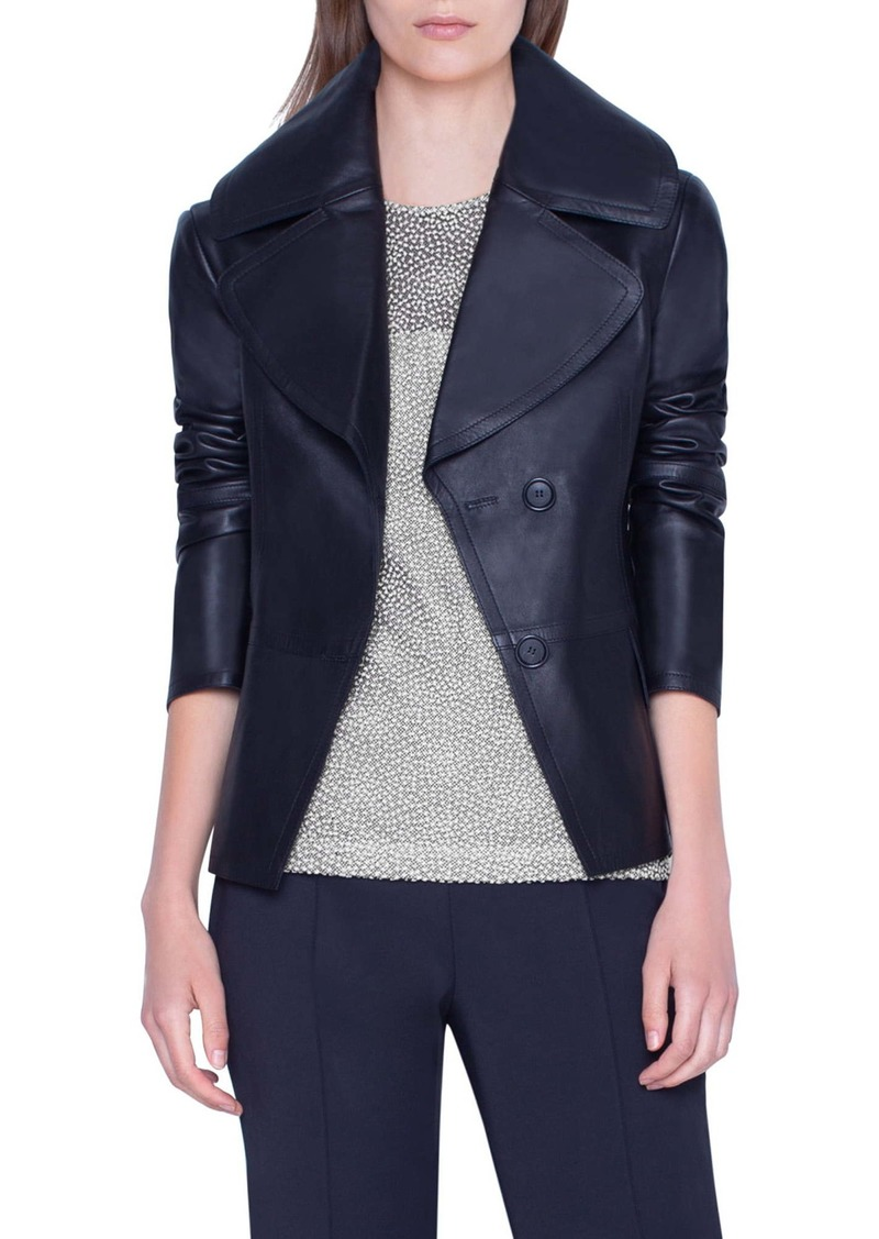 Akris Exaggerated Lapels Leather Jacket