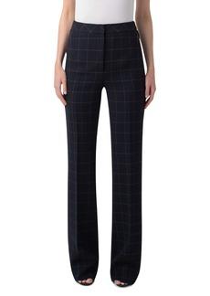 Akris Farida Windowpane Check Double Face Wool Blend Crepe Pants