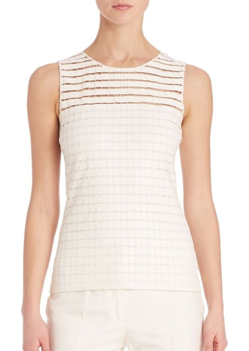 Akris Faux Leather Band Grid Top