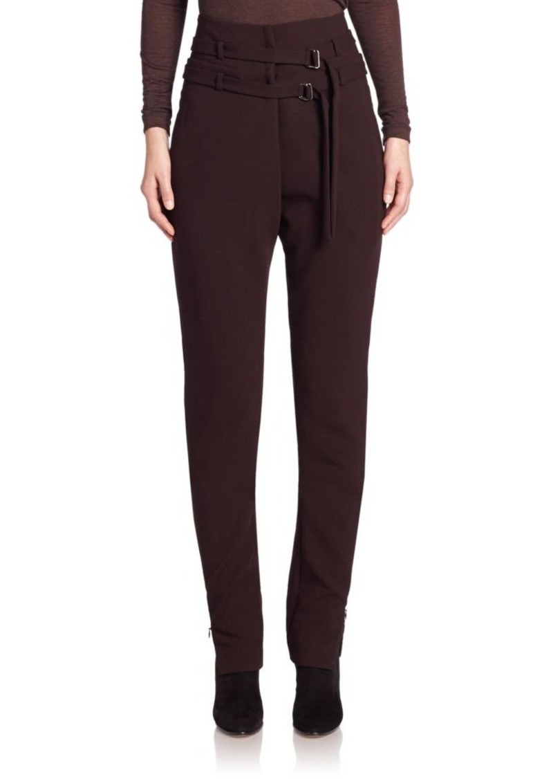 Akris Finja High-Waist Double-Belt Wool Pants