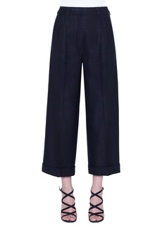 Akris Fira Pleated Wide Leg Crop Pants