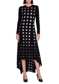 Akris Geo Cutout Long Sleeve High/Low Dress