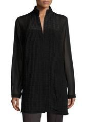 Akris Georgette-Grid Long-Sleeve Blouse