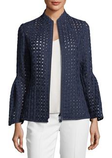 Akris Grid-Mesh Bell-Sleeve Jacket