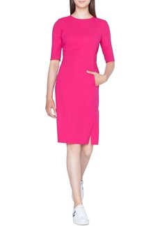 Akris Half-Sleeve Double-Face Wool Pencil Dress with Zip Pockets