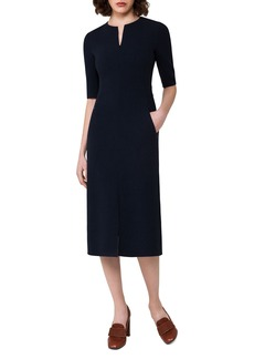 Akris Half-Sleeve Wool Midi Dress