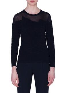 Akris Illusion Neck Fern Jacquard Sweater