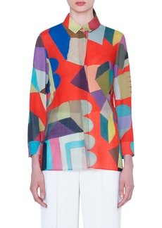 Akris Indian Summer Print Wool Crepe Tunic