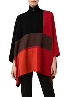 Akris Intarsia Colorblock Reversible Cashmere Cape
