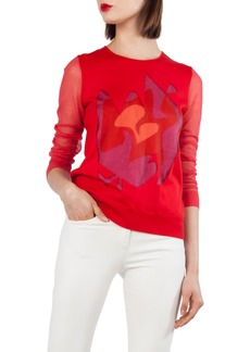 Akris Intarsia Knit Silk Blend Sweater