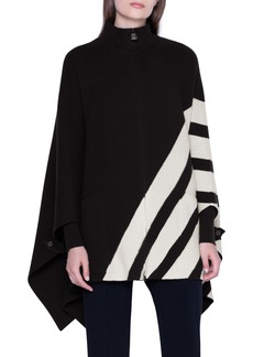 Akris Intarsia Stripe Reversible Cashmere Cape