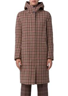 Akris Isolde Hooded Plaid Wool Coat