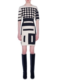 Akris Kaleidoscope Print Double Face Wool Blend Dress