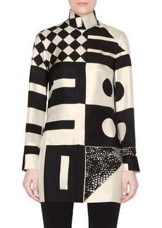 Akris Kaleidoscope Print Silk Crepe Tunic Blouse