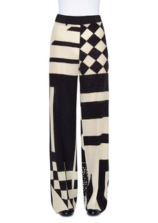 Akris Kaleidoscope Print Wide Leg Silk Crepe Pants
