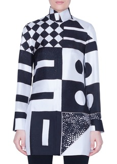 Akris Kaleidoscopic-Print Silk Funnel-Neck Tunic