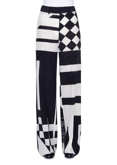 Akris Kaleidoscopic Silk Full-Leg Pants
