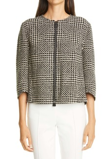 Akris Karina Crop Mixed Tweed Cashmere & Wool Jacket
