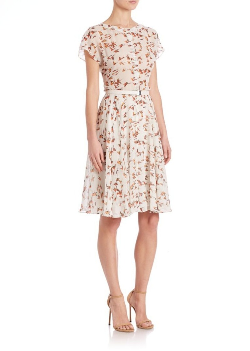 Akris Karminspint Print Silk Crepe Dress