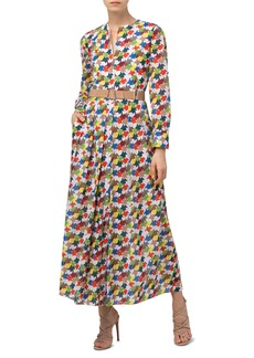 Akris Kinderstern Print Pleated Long Sleeve Cotton Voile Shirtdress